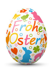 Frohe Ostern - 3D Vektor Osterei mit fröhlichen Ostersymbolen. Farbig und bunte Zeichen und Symbole. Ostern, bemaltes Ei. Colored 3D Vector Easter Egg with Holiday Season Symbols.