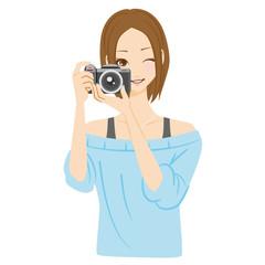 カメラ女子 構える