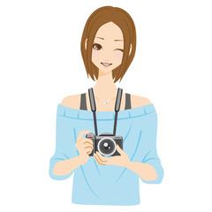 カメラ女子 笑顔