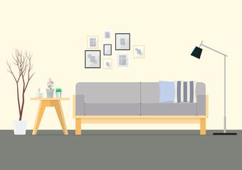 Flat Design Interior Living Room