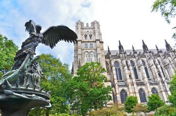 View of the statue outside the Cathedral of Saint John the Divine in New York City.
