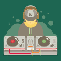 DJ character music. Musical entertainment. Flat vector