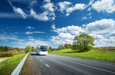 Wall Mural - Bus on asphalt road in beautiful spring day