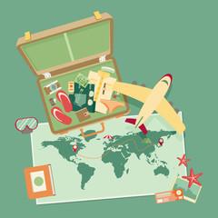 Travel background. Flat vector illustration.