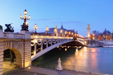 Pont Alexandre III and Grand Palais at dusk, Paris. Fototapete