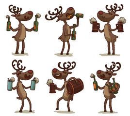 Vector cartoon image of six funny brown deers with horns and with beer in green glass bottles, brown wooden mugs, gray aluminum cans, a brown wooden barrel on a light background. Vector illustration.