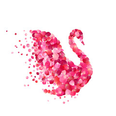 swan of pink rose petals isolated on white
