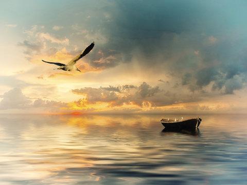 Vintage landscape with boat and birds
