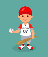 Cheerful boy baseball player with bat and ball. Isolated man character in a red baseball uniform with bat and ball in his hands.