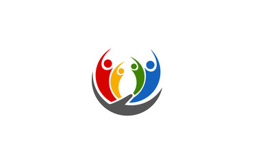 people colorful hand logo