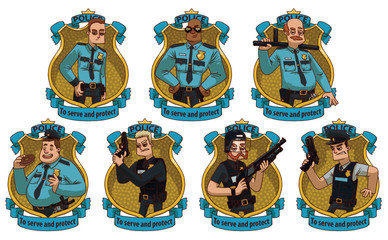 Vector image of a set frames in form of yellow police badges with blue banners with cartoon image of different men police officers in the center on a light background. Policemen. Vector illustration.