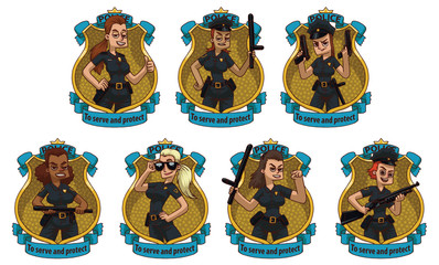 Vector image of set frames in form of yellow police badges with blue banners with cartoon image of different women police officers in the center on a light background. Policewomen. Vector illustration