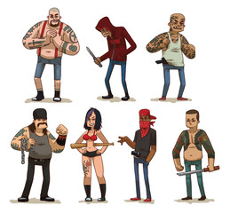Vector cartoon image of a set of different criminals of men and woman in different clothes with different weapons in their hands in different poses on a light background. Crime. Vector illustration.