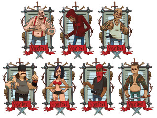 Vector image of a set of gray metal frames with barbed wire, skulls, bones, knives, red banners and with cartoon images of different criminals on a light background. Crime. Vector illustration.