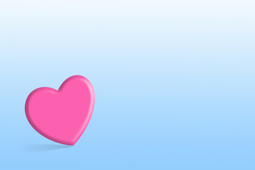 Pink lovely heart over blue background