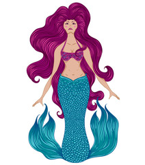Mermaid with beautiful hair. Tattoo art. Retro banner, invitation,card, scrap booking. t-shirt, bag, postcard, poster. Vintage highly detailed colorful hand drawn vector illustration