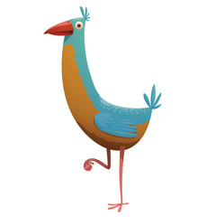 Vector cartoon image of a funny fantasy beautiful tropical bird with light blue and yellow feathers with a long neck, small tail and red beak standing on one leg on a white background.