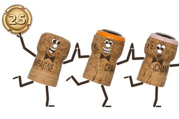 25 Jubiläum   Drei Tanzende Champagnerkorken