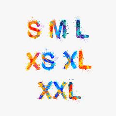 Clothes size range set, Splash paint (xs, s, m, l, xl, xxl)