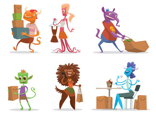 Vector cartoon image of a set of different funny monsters of various colors in different clothes with bags from the store in hands on a white background. Shops, sale. Vector illustration.
