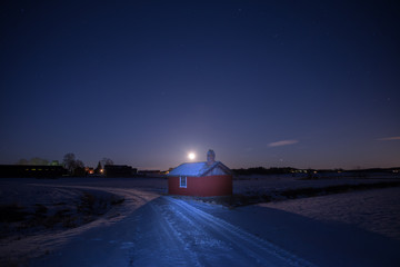 Country road in moonlight