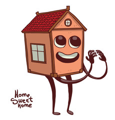 "Vector cartoon image of a cute small light orange house with windows, red roof, with eyes, mouth, arms and legs, smiling on a white background. The inscription ""Home sweet home"". Vector illustration."