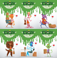 Vector set of advertising flyers with cartoon image of different funny monsters of various colors in different clothes with bags from the store in hands on white background. Sale. Vector illustration.