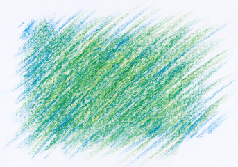 hand drawn green blue abstract crayon background