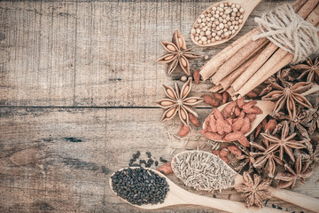 Colection of Chinese herbal ingredient on wooden background