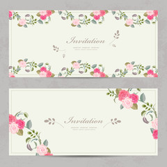 cute floral invitation cards with lovely roses for your design