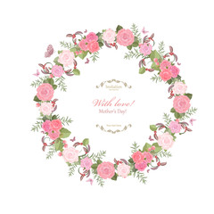 cute floral wreath with lovely roses for your design
