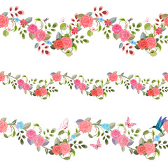 collection seamless borders with vintage floral pattern
