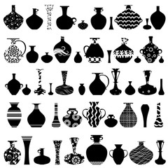 collection of handmade vases with ethnic ornament for your desig