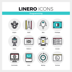 Computer Programming Linero Icons Set