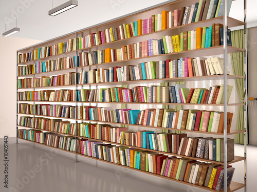 3d illustration of Bright and modern books on the shelves in the