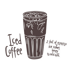 silhouette of cup of Iced Coffee on white background with typography, hand drawn illustration