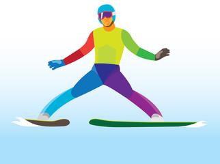 ski jumping. Young jumper. landing