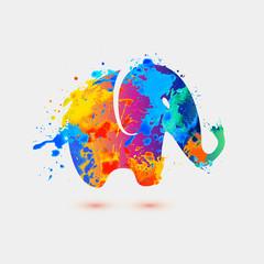 Elephant. Rainbow splash icon