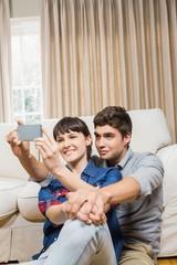 Romantic couple taking selfie