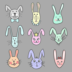 Set of colorful cute doodle bunny faces. Pet heads. Vector illustration