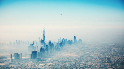 Keuken foto achterwand Dubai Dubai city in sunrise aerial view