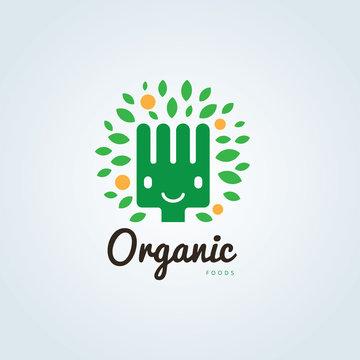 Organic food logo,restaurant logo,bistro logo,canteen logo,cafe logo,vector logo template
