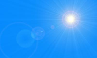 Sonne am Himmel und Linsenreflektion mit Textfreiraum z.B. für Karte, Flyer oder Plakat