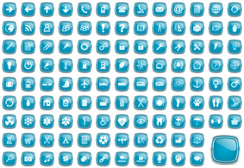 blue business and internet glossy web vector icons set