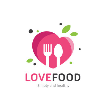Love food restaurant and cafe logo template