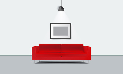 Realistic red sofa with photo frame and lamp light vector.
