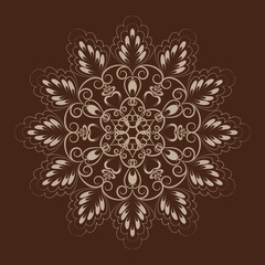 Flower mandala over dark brown