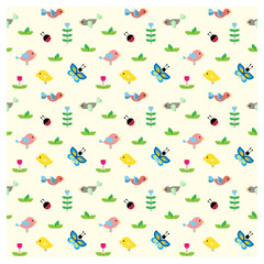 Seamless pattern with birds for childern