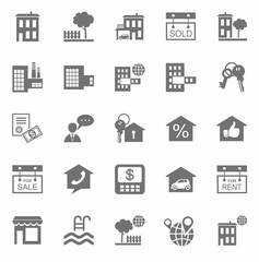 Real estate, monochrome icons.