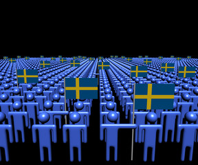 Crowd of abstract people with many Swedish flags illustration